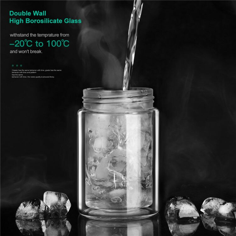 Oneisall Tea Water Bottle Travel Drinkware Portable Double Wall Glass Tea Infuser Tumbler Stainless Steel Filters The Tea Filter